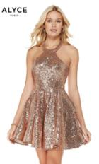 Alyce Paris - 4056 Fully Sequined Halter A-line Cocktail Dress