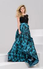 Jovani - 35283 Lacy Scoop Neck Floral Evening Gown