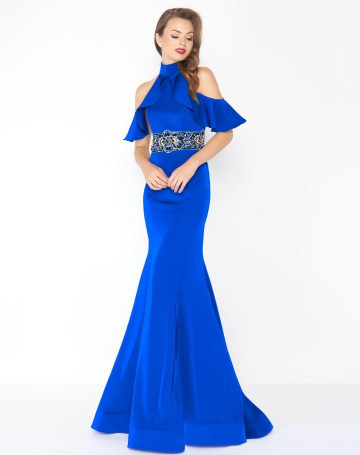 Mac Duggal - 48724r High Neck Ruffle Draped Mermaid Gown