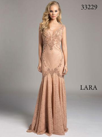 Lara Dresses - Embellished Sheer Trumpet Evening Gown 33229