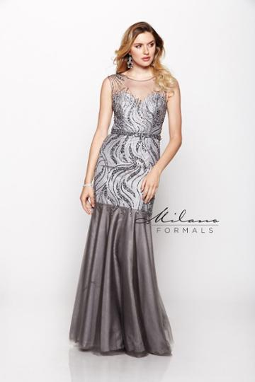 Milano Formals - Stunning Trumpet Gown With Beads And Sheers E1907
