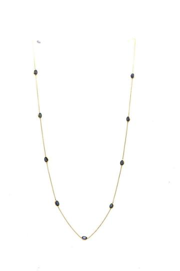 Tresor Collection - Blue Sapphire Oval Necklace In 18k Yellow Gold