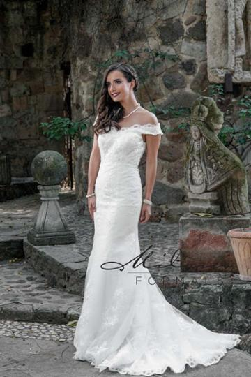 Milano Formals - Aa9318 Lace Scalloped Off-shoulder Wedding Gown