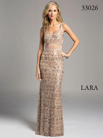 Lara Dresses - Bedazzled V-neck Sheer Overlay Long Sheath Gown 33026