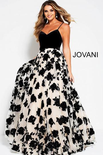 Jovani - 52269 Embellished Sweetheart Velvet A-line Dress