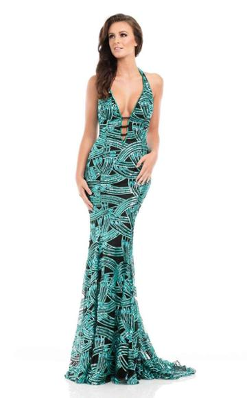 Johnathan Kayne - 7051 Embellished Strappy Halter Gown