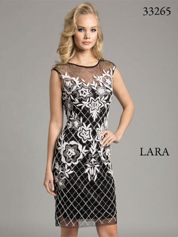Lara Dresses - Pretty Sheer Cocktail Dress With Elegant Floral Design 33264