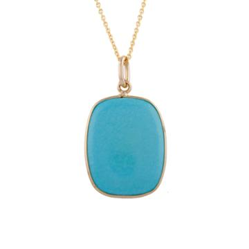 Tresor Collection - Turquoise Rect. Pendant In 18k Yg