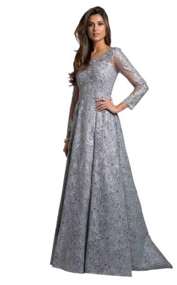 Lara Dresses - 29923 Appliqued Sheer Long Sleeves Evening Gown