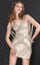 Jovani - 5820 Studded V-neck Sheath Dress