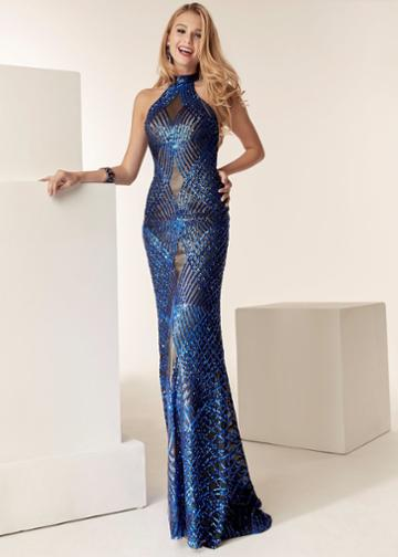 Jasz Couture - 6224 High Haltered Beaded Sheath Gown