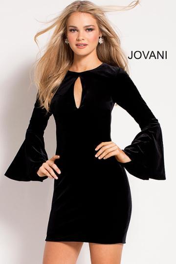 Jovani - 51451 Long Bell Sleeve Stretch Velvet Cocktail Dress