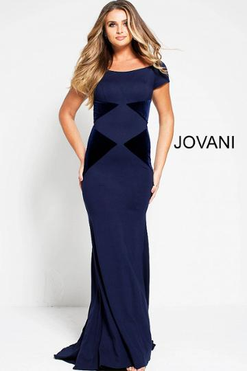 Jovani - 51605 Bateau Neck Velvet Sheath Dress