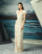 Mnm Couture - Feather Fringed Sheath Gown G0827