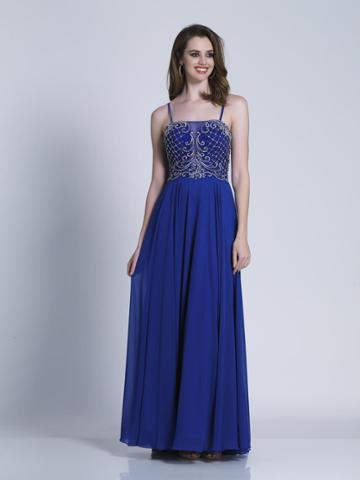 Dave & Johnny - A6193 Thin Straps Embellished A-line Gown