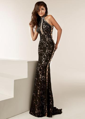 Jasz Couture - 6220 Beaded Lace Halter Neck Sheath Dress