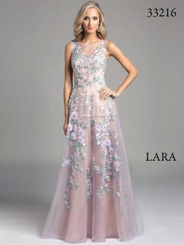 Lara Dresses - Sheer Illusion A-line Evening With Floral Embroidery Dress 33216