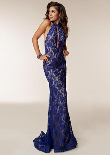 Jasz Couture - 6211 Beaded Lace Halter Sheath Dress