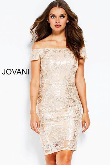 Jovani - 50998 Sequined Off-shoulder Fitted Cocktail Dress