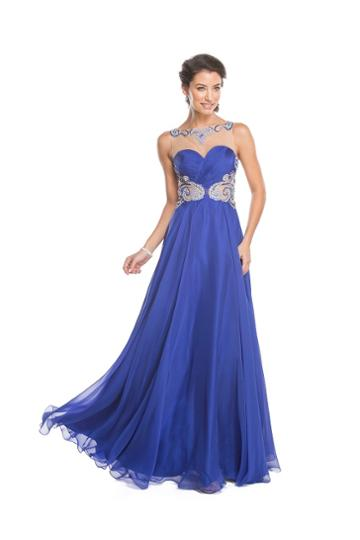Aspeed - L1583 Sheer Embellished Ruched Evening Gown