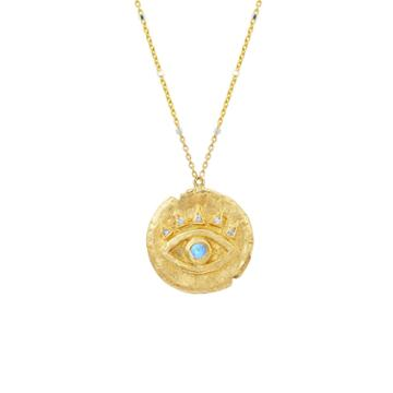 Logan Hollowell - New! Moonstone Baby Eye Of Protection Coin Pendant
