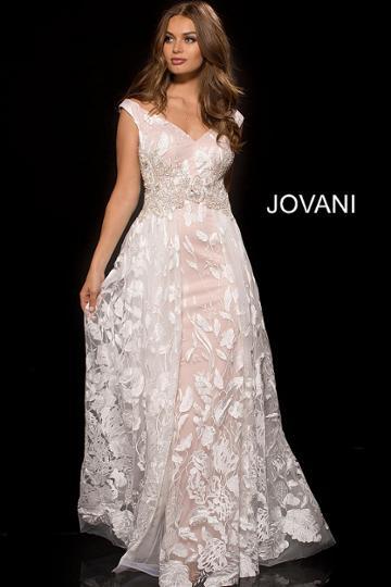 Jovani - 53047 Embroidered Tulle Off-shoulder A-line Dress