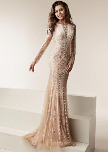 Jasz Couture - 6214 Long Sleeved Sheath Embellished Gown
