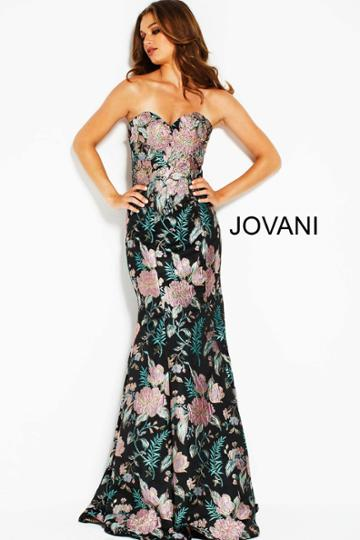 Jovani - 53079 Multi-colored Floral Embroidered Trumpet Dress
