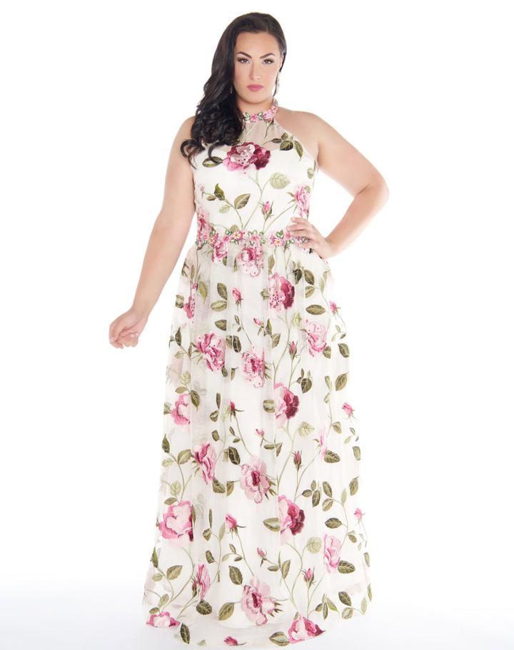Mac Duggal - 77354f High Neck Floral Embellished Gown