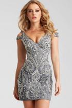 Jovani - 54546 Beaded V-neck Sheath Dress