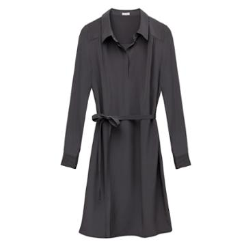Cuyana Gathered Silk Shirtdress
