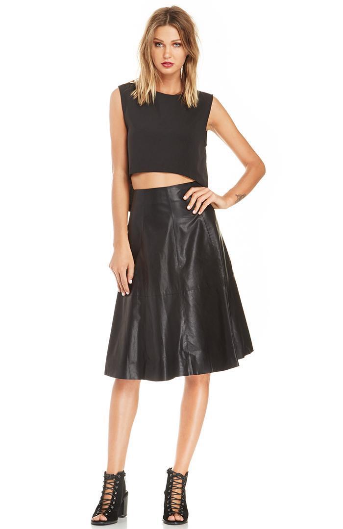 Dailylook Huxtable Vegan Leather Skirt In Black S L