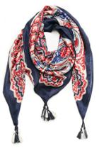 Dailylook Vismaya Paisley Silk Scarf In Navy/red At Dailylook