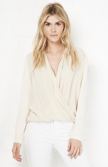 Dailylook Carolina Draping Criss Cross Blouse In Beige S - L At Dailylook