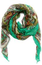 Dailylook Spun By Subtle Luxury Soft Paisley Wrap Scarf In Green At Dailylook