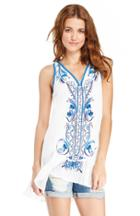 Dailylook Embroidered Vacation Tunic In Blue S - M At Dailylook