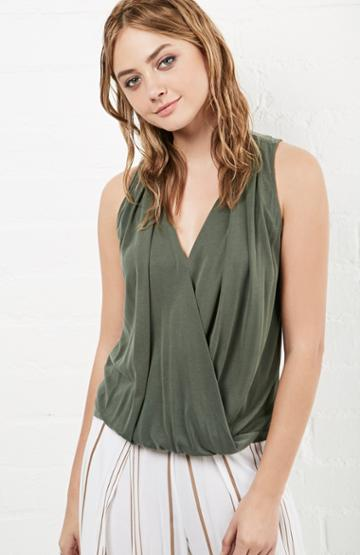 Dailylook Gardot Pleated Surprise Blouse In Olive S - L At Dailylook