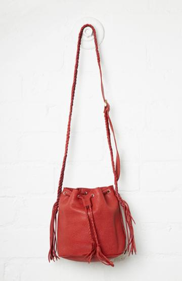 Dailylook Stela 9 Leather Quixote Small Bucket Bag In Red At Dailylook