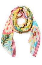 Dailylook Vismaya Floral Abstract Scarf In Multi-colored At Dailylook