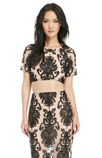 Dailylook For Love  Lemons Embroidered Ethereal Crop Top In Black / Beige Xs At Dailylook