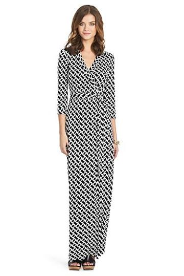 Diane Von Furstenberg Abigail Long Maxi Wrap Dress