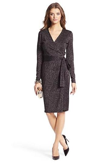 Diane Von Furstenberg Metallic Knit Wrap Dress