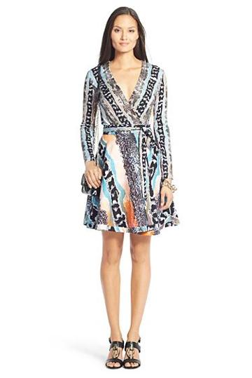 Diane Von Furstenberg Dvf Amelia Cotton Flared Wrap Dress