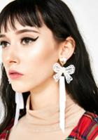 Ana Accessories Gold Ribbon Earrings White Satin