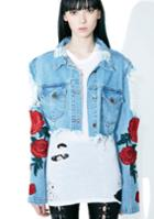 Gjg Denim Roses Distressed Denim Jacket