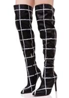 Cape Robbin Grid Print Thigh High Boots