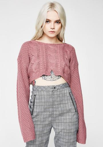 Tic Toc Mauve Cropped Knit Sweater