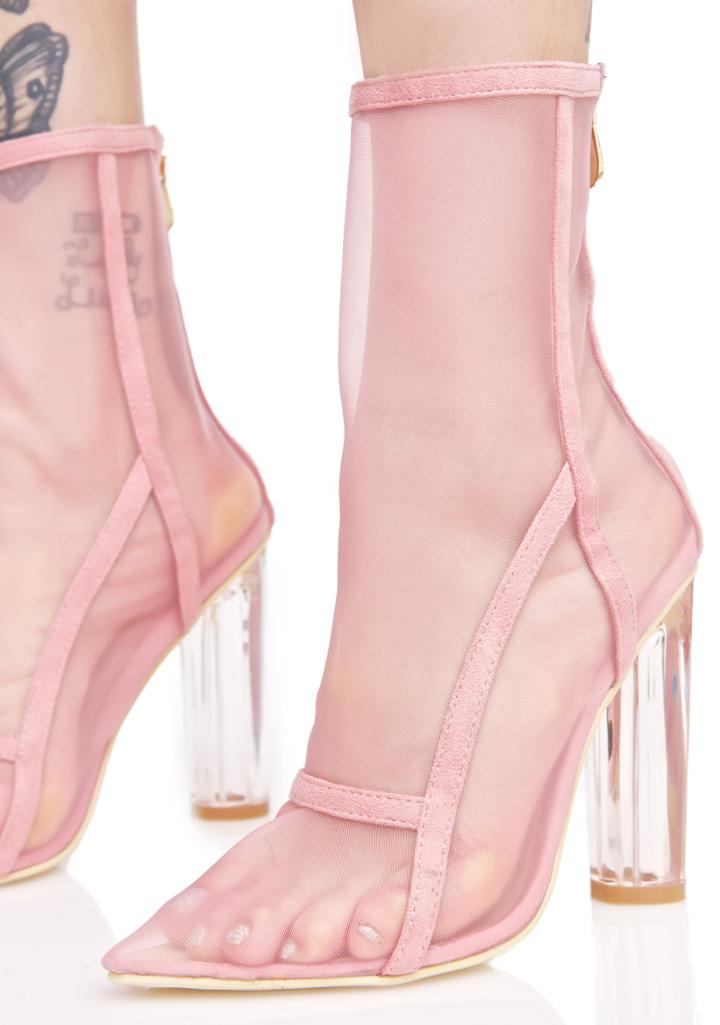 Cape Robbin Nude Mesh Ankle Boots