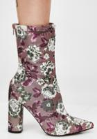Public Desire Cupid Multi Floral Heeled Ankle Boot
