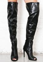 Cape Robbin Black Vegan Leather Thigh High Boots